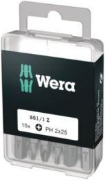 Wera bit PH2x25mm T/skruer m/indv. sekskant, 1/4'' sekskant - 10 stk - 851/1