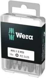 Wera bit PZ2x25mm Til Pozidriv skruer, 1/4'' sekskant - 10 stk - 855/1