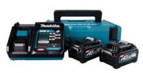 Makita batteripakke 40V 191J97-1, 2x4,0 Ah batterier, hurtiglader i Makpac kuffert.