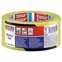tesa Advarselstape 33 m x 50 mm, gul/sort