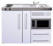 Juvel Minikøkken Premiumline hvid Mål 1200x600x890. Vask til højre