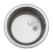 Uni køkkenvask Ø380mm med prop, mat, til nedfældning