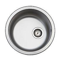 Uni køkkenvask Ø380mm med strainer, mat, til nedfældning