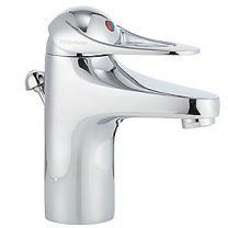 FMM 9000E håndvaskarmatur med løft-op ventil, koldstart og Soft Closing.